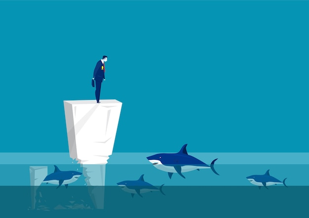 Impostor syndrome. sad man on on wall in the middle of the sea  team surrounded by sharks. psychological problem. mental issue. illustration