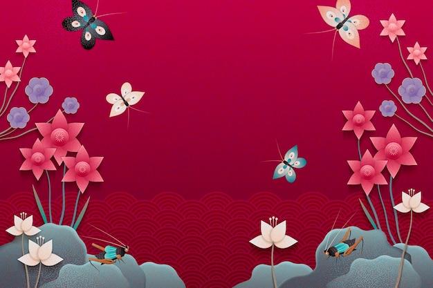 ペーパーアートスタイルの蝶、暗いフクシア調の印象的な花の庭園