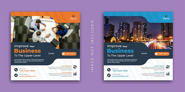 Improve your business digital marketing agency and elegant corporate flyer, square social media instagram post or web banner template