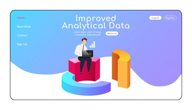 Improved analytical data landing page flat color vector template. man sitting on diagram homepage layout. crm one page website interface with cartoon character.