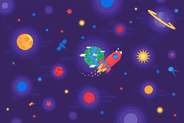 コスモス宇宙飛行ロケット宇宙船ベクトルで。宇宙シャトルと衛星装置が宇宙を飛びます。惑星、月、星。探検家と発見銀河フラット漫画イラスト