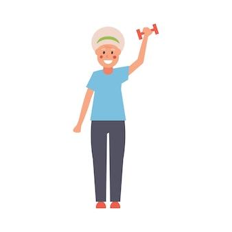 ファッションでは、ダンベルを手にした現代の祖母がフィットネスエクササイズをしています。完全に編集可能なイラスト。情報カード、ポスター、チラシ、フィットネスのトレンドやテーマに最適です。