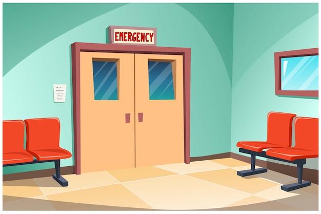 В больнице перед отделением неотложной помощи стоят стулья для ожидания обслуживания.