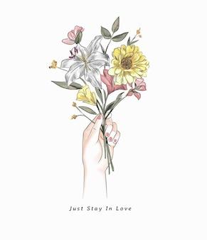 花のイラストのカラフルな花束を手に持って愛のスローガンで