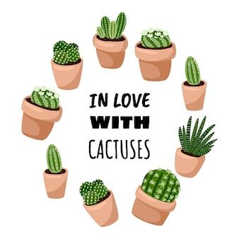 Влюбленный в кактусы мультяшном стиле, милый дизайн венок орнамент. набор hygge горшечных суккулентных растений. уютная коллекция растений в скандинавском стиле лагом
