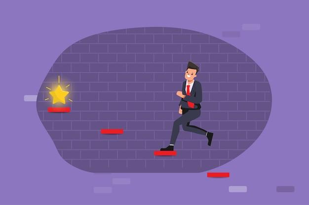 В процессе концепции с бизнесменом, бегущим к целям