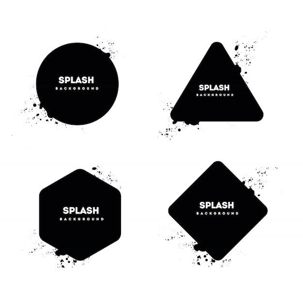グランジポストスタンプコレクション、サークルバナー、in章、ロゴ、アイコン、ラベル、バッジセット。苦痛textures.blank形状。