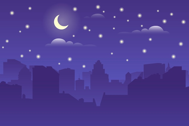 夜の街並み。建築シルエット