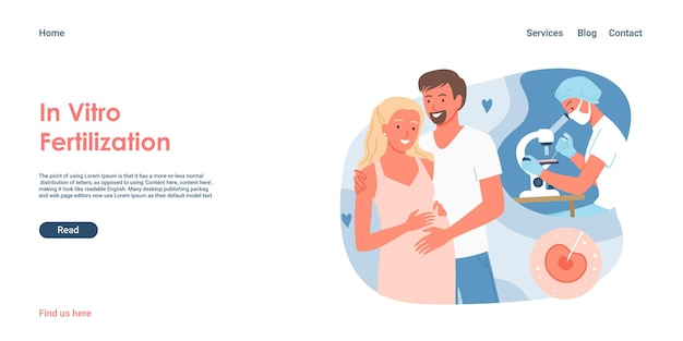 체외 수정 개념 벡터 일러스트 레이 션. 함께 서 있는 만화 커플, 남자와 현대 임상 의학 및 불임 건강을 가진 임산부, 유전자 검사 방문 페이지
