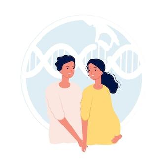 Экстракорпоральное оплодотворение. современная медицина и генетическое тестирование плода. родительство, молодая пара. плоская иллюстрация шаржа