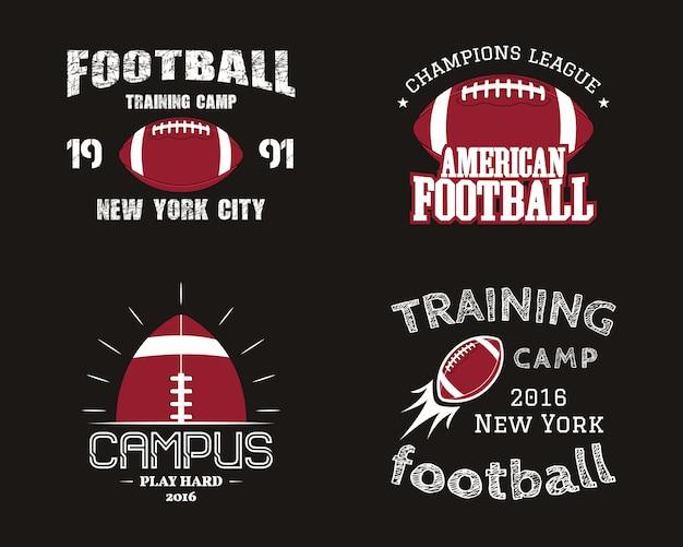 アメリカンフットボールのバッジ、ロゴ、ラベル、レトロな色スタイルのin章のセット。暗い背景に分離されたカラフルなスタイル。