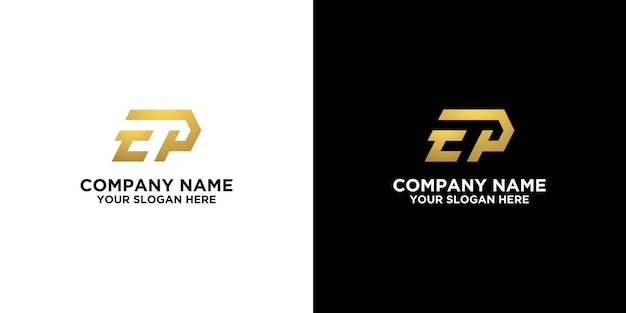 Inal e or t or p in gold logo designs template premium vector