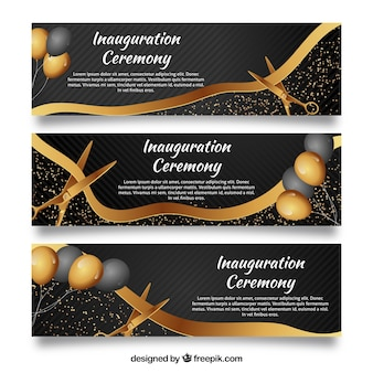 Inauguration banners with golden elements