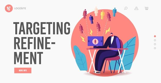 Входящий маркетинг, шаблон целевой страницы для достижения финансовых целей. характер бизнесмена, работающий на компьютере, привлекает клиентов, генерируя потенциальных клиентов и клиентов. мультфильм люди векторные иллюстрации