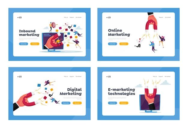 인바운드 마케팅, 재무 목표 달성 랜딩 페이지 템플릿 세트. 거대한 자석을 가진 손은 캐릭터를 끌어들입니다.