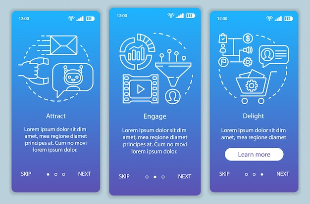 Inbound marketing method for customers blue onboarding mobile app page screen vector template. engage walkthrough website steps with linear illustrations. ux, ui, gui smartphone interface concept