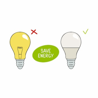 Incandescent lamp and led light with the inscription save energy. illustration on the theme of careful attitude to nature and energy resources.