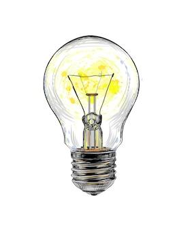 Лампа накаливания светится от всплеска акварели, рисованный эскиз. иллюстрация красок
