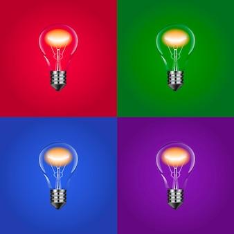 Incandescent light bulbs set on colorful backgrounds vector illustration