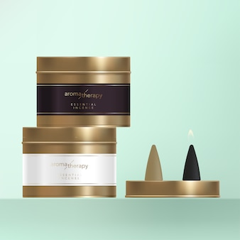 Incense cone with bronze metal finishing tin can, wrap around label with golden foil.