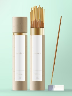 Incense stick with kraft paper cone packaging with white & blue ceramic dish.