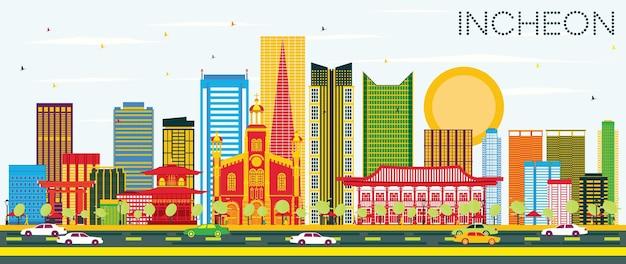 컬러 빌딩과 푸른 하늘이 있는 인천 스카이라인. 벡터 일러스트 레이 션. 현대 건축과 비즈니스 여행 및 관광 개념입니다. 프레젠테이션 배너 현수막 및 웹사이트용 이미지.