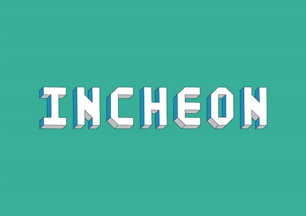Incheon text with isometric effect