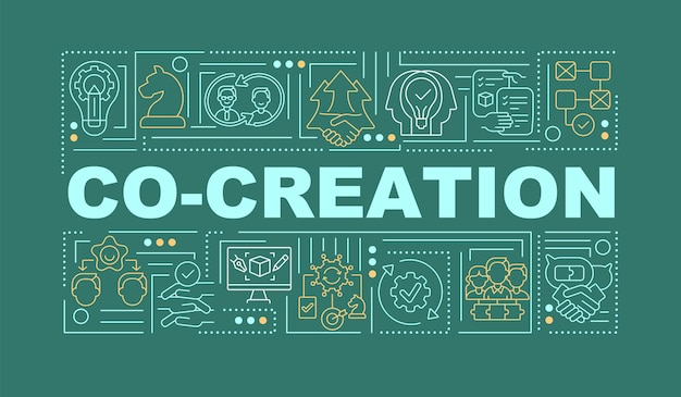 Include outsiders in the ideation word concepts banner. infographics with linear icons on green background. collection of fresh ideas. isolated typography.  outline rgb color illustration