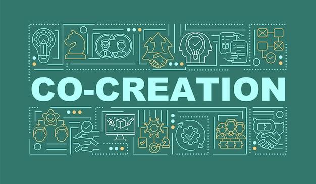 아이디어 단어 개념 배너에 외부인을 포함 시키십시오. 녹색 배경에 선형 아이콘으로 인포 그래픽입니다. 신선한 아이디어 모음. 격리 된 타이포그래피. 개요 rgb 색상 그림