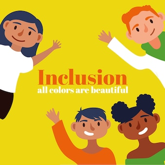Inclusion concept text with community people characters