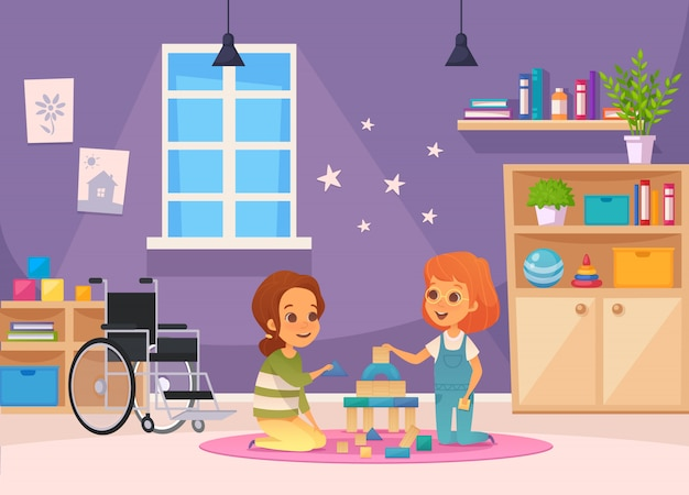 Inclusion inclusive education cartoon composition two children sit in the room and playing illustration
