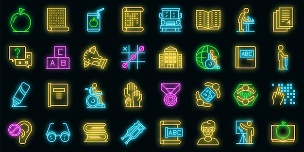 Inclusive education icons set. outline set of inclusive education vector icons neon color on black
