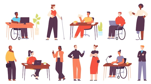 Inclusive multicultural office workers at workplace. cartoon business people in wheelchair, disabled character at work. diversity vector set. employees having leg and arm prosthesis