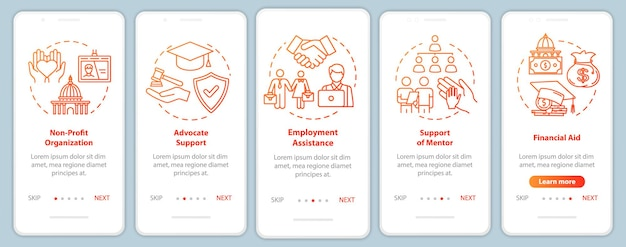 Inclusive society onboarding mobile app page screen with concepts. social and financial support walkthrough five steps graphic instructions. ui vector template with rgb color illustrations