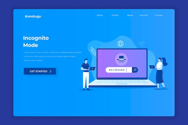 Incognito browsing illustration concept for websites landing pages mobile apps posters and banners