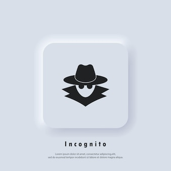 Incognito icon. incognito logo. browse in private. spy agent, secret agent, hacker. vector. ui icon. neumorphic ui ux white user interface web button.