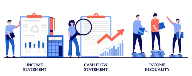 Income and cash flow statement, income inequality concept with tiny people. balance sheet abstract  illustration set. financial plan and report, company debt, accountancy service metaphor.