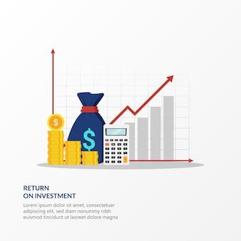 Финансовая стратегия дохода для иллюстрации высокой рентабельности инвестиций. сбор средств или рост доходов с символом линии графика.