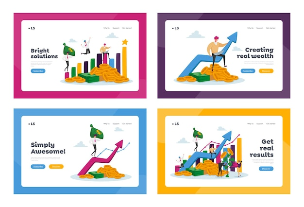 Набор шаблонов целевой страницы о росте дохода