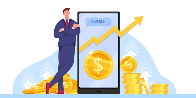 Income growth, return on investment or revenue increase with millionaire, smartphone.