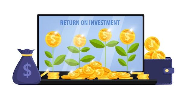 Рост доходов, концепция возврата инвестиций с экраном ноутбука, денежные растения, сумка, куча долларовых монет, кошелек.