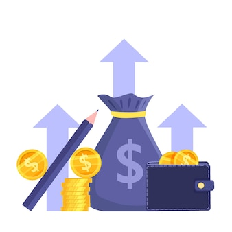 Income growth or revenue increase stock market concept with coin stack,wallet,dollars,money bag.