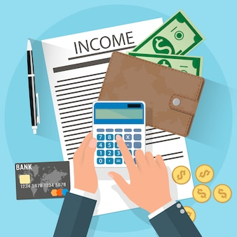 Income illustration with businessman