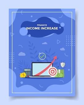 Income increase arrow in laptop screen calculator money coin