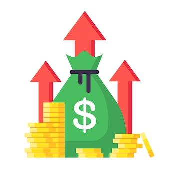 収入が増える。財務戦略、投資の高収益、予算バランスの図。市場の増加と収入、事業成長利益