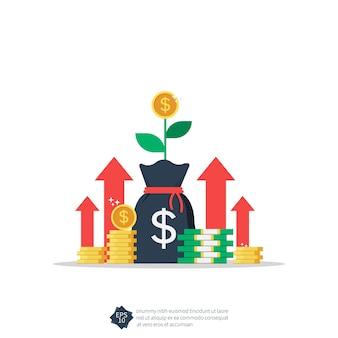소득 증가 또는 수익 성장 기호 그림.