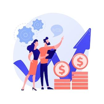 소득 증가 전략. 경영 관리, 주식 중개인 통계, 금융가 예측. 성장률을 분석하는 금융 시장 전문가.