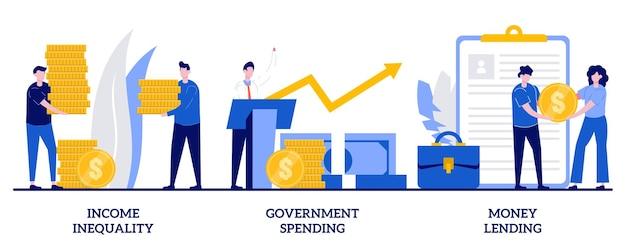 Неравенство доходов, государственные расходы, концепция кредитования денег с крошечными людьми. набор абстрактных иллюстраций распределения денег. разрыв в заработной плате, бюджет страны, банковский кредит, метафора индивидуального кредита.