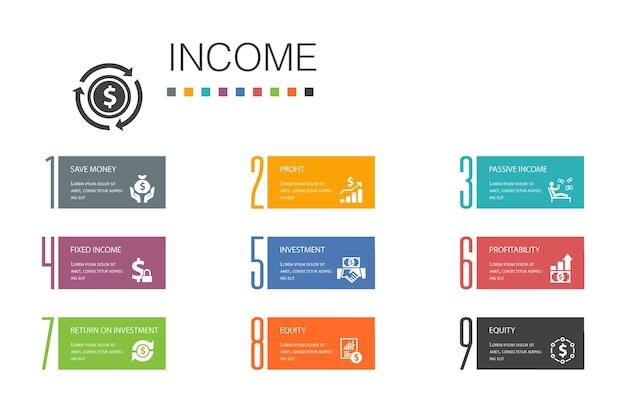 Income infographic 10 option line concept.save money, profit, investment, profitability simple icons