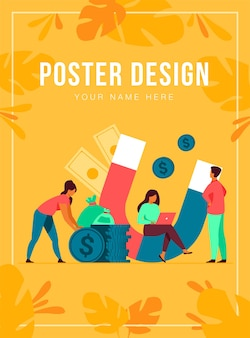Income and money attraction. people with magnet getting cash.  illustration for fast loan, income, investment, profit, finance, success concept